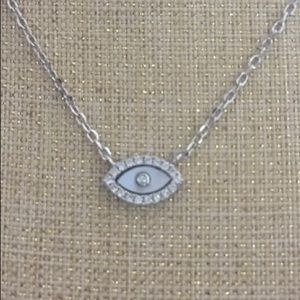 Silver 925 evil eye with rhinestone necklace chain